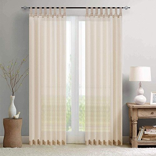 Sheer Curtain Panels for Living Room 95 inch Length Window Curtains Voile Window Treatment Set with Tab Top, 2 pcs, Tiebacks Included, Nature - Tie Top Pair Sheer