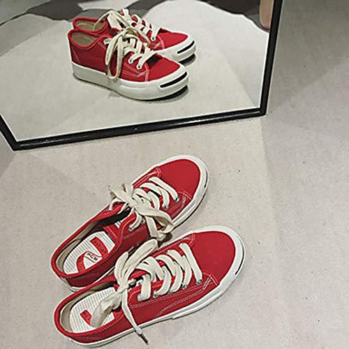 Basket Chaussures Bout Femme Red Plat UK6 CN39 Vert Printemps TTSHOES Confort Rond Rouge Talon Noir Tissu US8 EU39 nq8d55xX