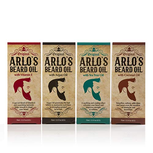Arlos Beard Oil Includes - Argan Tea Tree Vitamin E and Coconut (4 Pack) (Tea Tree Beard Oil)