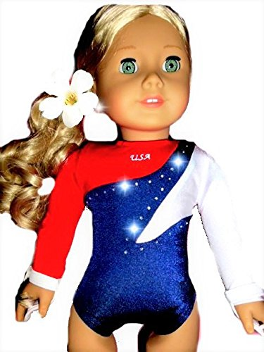 American 18 inch Doll Clothes for Girls | Red White Blue USA Gymnastics Set with Leotard and Hair Accessories | by DOLL CONNECTIONS | Doll Clothes Done Right! (2 Piece (Ariel Bride Costume)