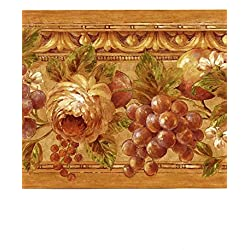 Wallpaper Border Tuscan Grapes & Roses Green Lavender Copper Burgundy Orange
