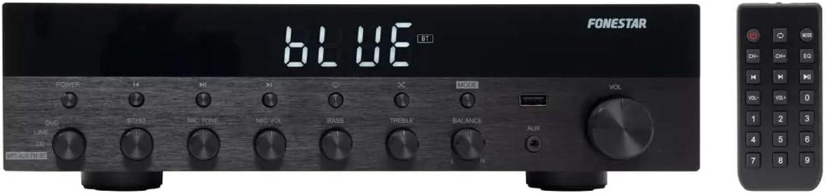 FONESTAR Amplificador Estéreo Bluetooth, USB/MP3, Radio FM, HiFi 30+30w RMS de Potencia As-3030