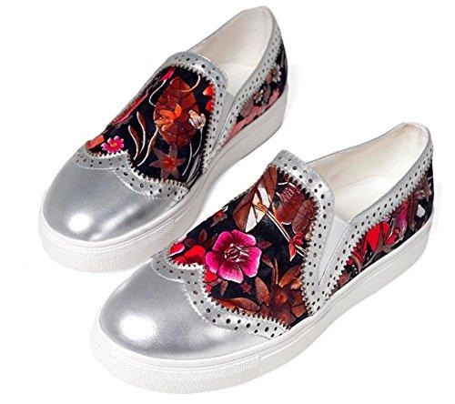 Las Mujeres Profundos Capa Cuero La Plano Primera Redondos Zapatos Los Ocasionales Florales Talón De Del Nuevas Silver wvwtxq