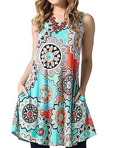 Knit Print Dress Ethnic - Silvous Cotton Swing Dress Bohemian Floral Print Pockets Loose A-line Dress (LightBlue S)
