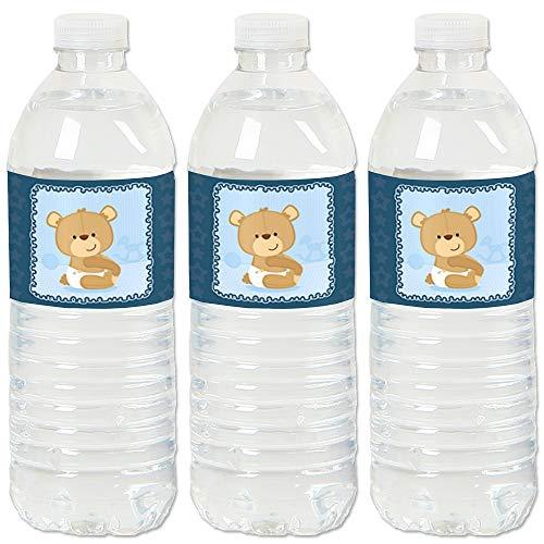Baby Boy Teddy Bear - Baby Shower Water Bottle Sticker Labels - Set of 20 ()