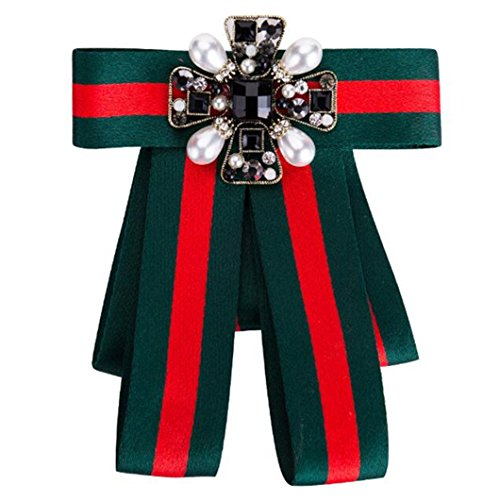 Ribbon Crystal Men/Women Pre-Tied Neck Tie Brooch Pin Bow Tie Patriotic Collar Jewelry Gift (Green3)