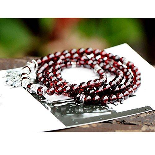 Jade Angel 56mm Grenat naturelle Strand Bracelet vintage avec charm en argent sterling