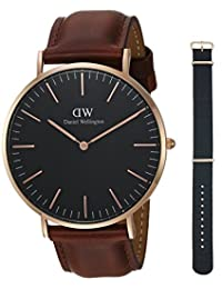 Daniel Wellington Unisex Adult DW00500006 Gift Set - Classic Black St. Mawes 40mm with Cornwall Strap Watch