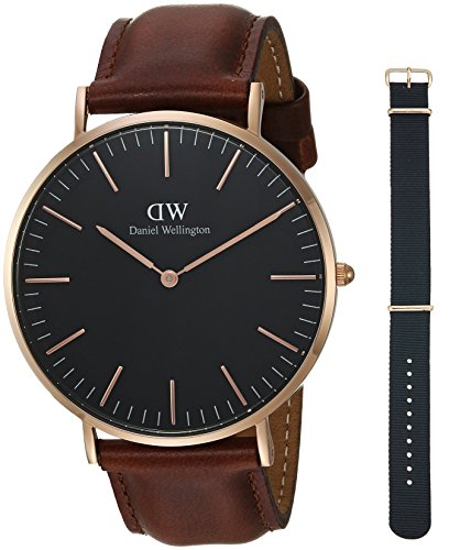 Daniel Wellington Gift Set, Classic Black St Mawes 40mm Watch with Cornwall Strap