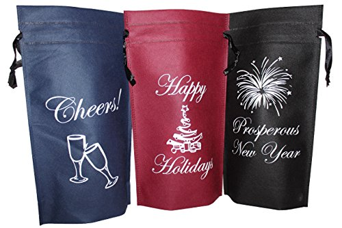 Wine Gift Bags, Holiday Gift Bags, Pack of 3 Single Bottle Drawstring, Wine Bottle Gift Bags, Non woven Reusable Bags by (Non Woven Bottle)