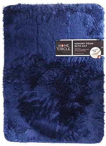 Home Circle Soft Top Memory Foam 17'' x 24'' Bath Kitchen Mat Bathmat Rug (Blue)