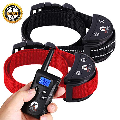 Paipaitek No Shock Training Collar Two Dogs Rechargeable Waterproof (Black&Red)
