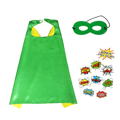(Kids Super Hero Cape and Mask Set Dress up Costume with DIY Stickers-Boys Girls Party)