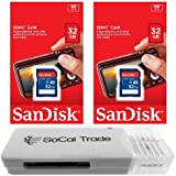2 PACK - SanDisk 32GB SD HC Class 4 Secure Digital High Speed SDHC Flash Memory Card SDSDB-032G 32G 32 GB GIGS (S.B32.RTx2.562) LOT OF 2 with USB SoCal Trade© SCT SD Memory Card Reader - Retail Packaging