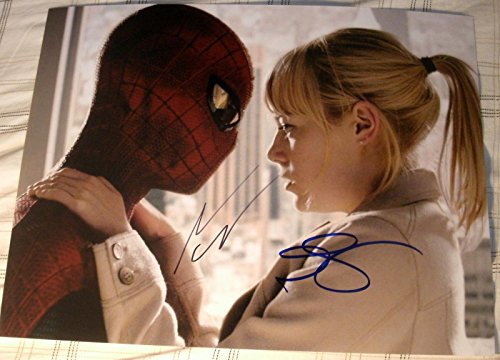"Andrew Garfield & Emma Stone Signed Autograph ""amazing Spider-man"" Huge Photo"