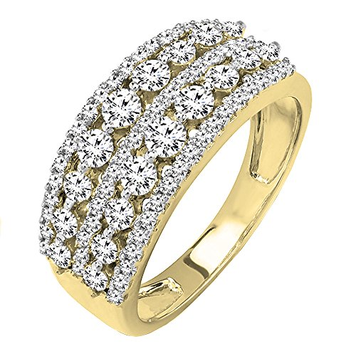 18k White Gold Diamond Wedding Band - 1.15 Carat (ctw) 18k Yellow Gold Round Diamond Ladies Anniversary Wedding Band Ring (Size 7)