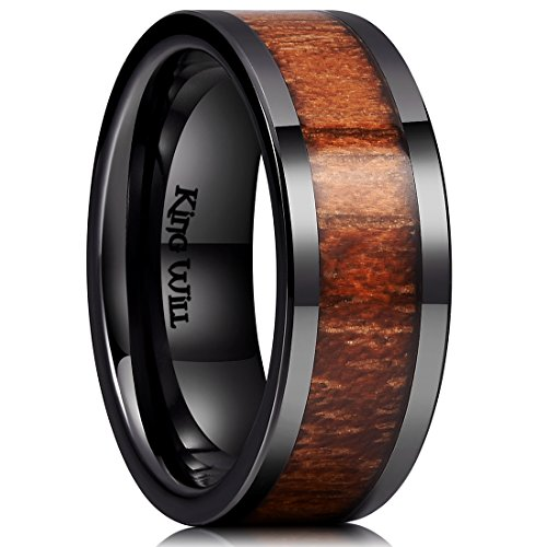 King Will Nature 8mm Black Koa Wood Ceramic Ring Wedding Band Polished Finish Comfort Fit Flat Style10.5