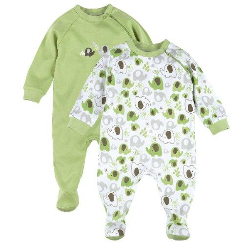 BORNINO Schlafoverall im 2er Pack Baby-Nachtwäsche Baby-Schlafanzug, Größe 74/80, grün