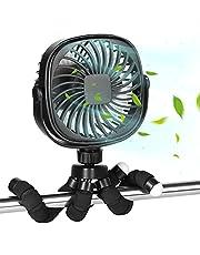 Baby Stroller Fan Mini Handheld Personal Portable Cooling Fan with Flexible Tripod Baby Stroller Fan Car Seat Fan Desk Fan USB Rechargeable Little Fan (Black)