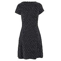 GLVSZ Leisure Bohemian Short Sleeve Dot Printed Knee Dress Party Dress Style Black 2XL