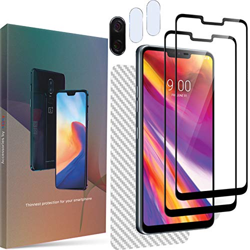 Homy Compatible LG G7 ThinQ 3D Screen Protector (x2) + Back Carbon Fiber + Camera Lens Cover (x2) - Full Cover Protection Kit - Premium Japanese Tempered Glass - Anti Fingerprint - Touch Sensitive