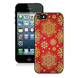 2014 New Style Iphone 5S Protective Cover Case Christmas Golden Pattern iPhone 5 5S PC Case 1 Black