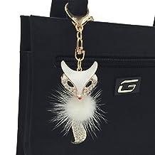 Pardao Beautiful Cute Fox pom pom fur ball Keychain - best gift for girls women girlfriend or sister - Cool Bag Charm & Fashion Accessory (Gold Metal / White Fur)