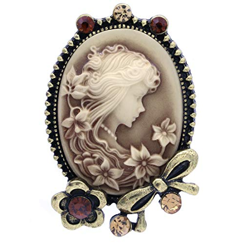 Flower Brooch Cameo Pin (Soul Breeze Collection Brooches Brown Cameo Brooch Pin Flower Ribbon Rhinestones Fashion Jewelry for Women)