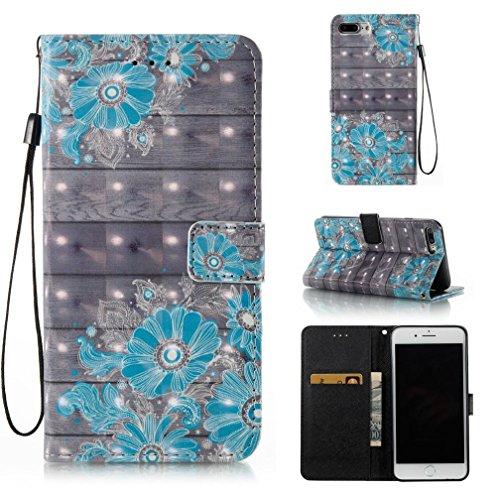 iPhone 7 Plus Case,iPhone 8 Plus Case,Flexible Detachable Wallet Scratch Resistant Protective Cover Card Holder 3D Painted Magnetic Premium PU Leather Case Pocket for Apple iPhone 7 Plus-Blue Flower
