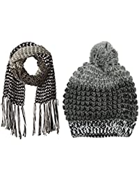 Women's Multi-Colored Marled Beanie and Scarf Set- Assorted Colors