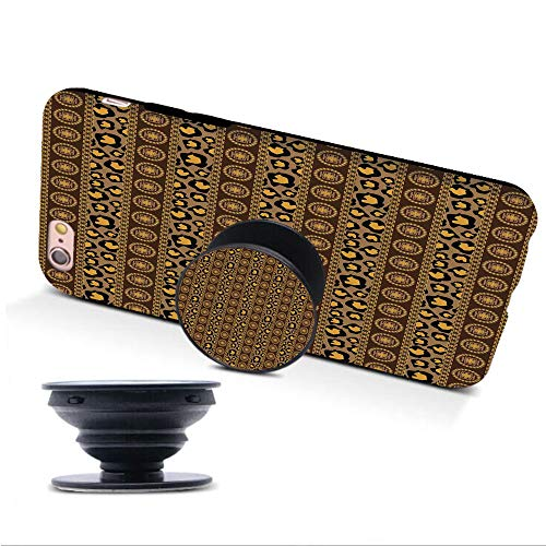 - iPhone 6/6s Case with Collapsible Grip&Stand/African/Ethnic Traditional Artistic Ornament Striped Pattern Leopard Skin Artwork/Umber Brown Marigold/Compatible with iPhone6/6s(TPU Case/Black)