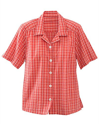 Misses Button (National Plaid Seersucker Camp Shirt, Cantaloupe, Large)