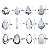 H&D Pack of 12 Clear Crystal Chandelier Lamp Lighting Drops Pendants Balls Prisms Hanging Glass Prisms Parts Suncatcher Home/House Decor