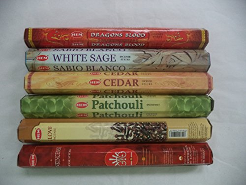 Hem Incense Sticks Dragons Blood White Sage Cedar Patchouli Clove Frankincense 6 x 20 = 120 Stick Variety Pack by Hem