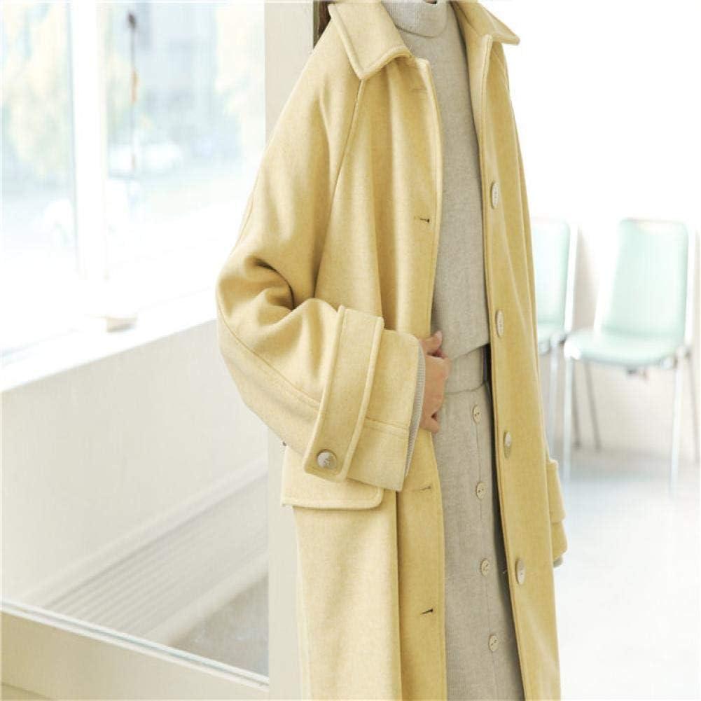 WDAYI Vêtements d'hiver Simple Manteau Long en Laine Hepburn Long Manteau lâche Femme Yellow