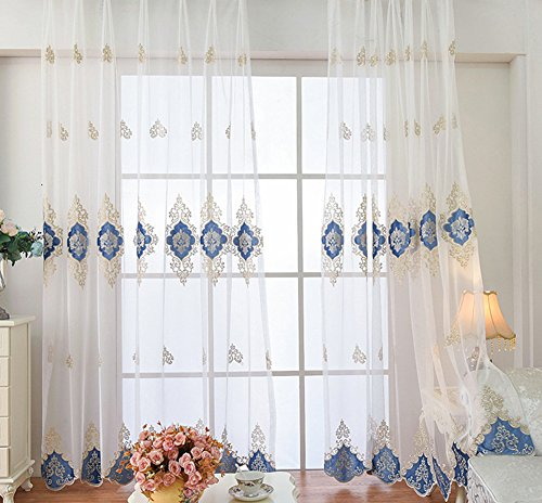 ASide BSide Sheer Curtains Rod Pocket Breathable Window Decoration Victorian Style Flowers Pattern For Sitting Room Houseroom and Children Room (1 Panel, W 52 x L 84 inch, - Victorian Panel Sage