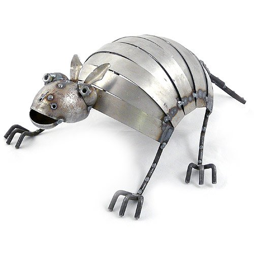 Reclaimed Metal Armadillo Garden Sculpture