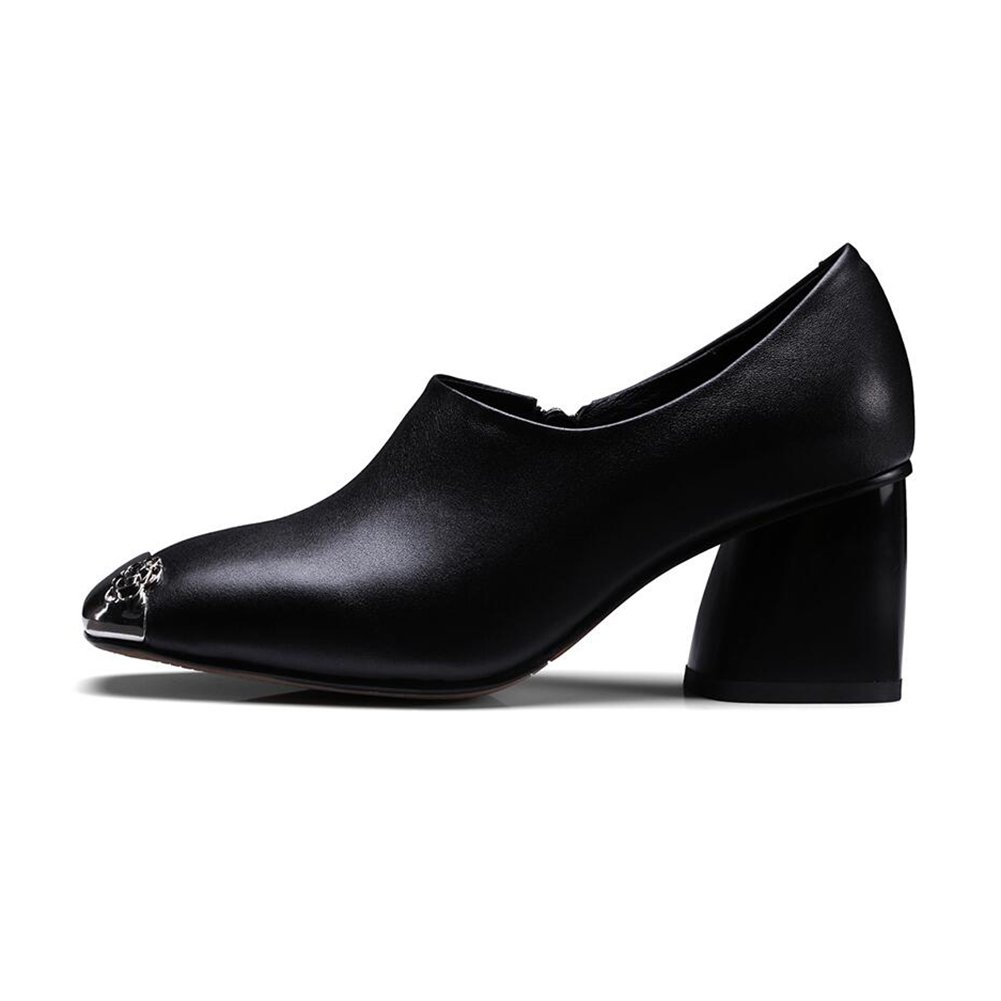 CJC Schuhe Frau Damen Spitz Geschlossen Zehe Hoch Rau Absätze Sexy Elegant Party Büro Arbeit (Farbe   schwarz, Größe   EU39 UK6)