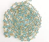 GemAbyss Beads Gemstone 5 Feet Aquamarine Wire Wrapped Faceted Rondelle Beads, Rosary Style Beaded Chain Code-MVG-16717