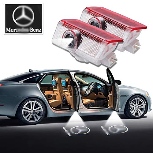 Mercedes Benz LED Door Light 2 x Wireless No Drill Type Led Laser Door Shadow Light Welcome Projector Light Led Car Door Logo Ghost Shadow Emblems - 2 Pack