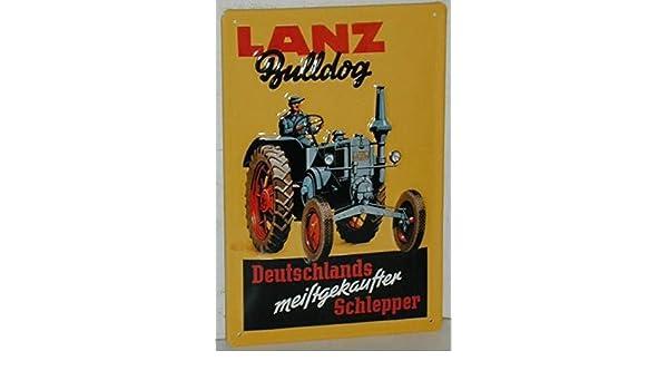 EMS Lanz Bulldog Tractor Retro Cartel de Chapa - 20 x 30 cm ...