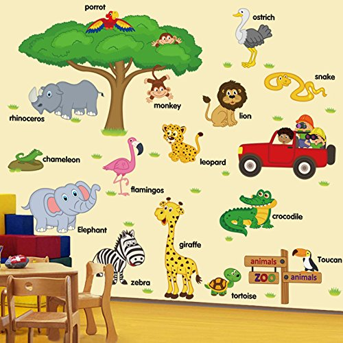 LiveGallery Giant Creative DIY Tree Branches Squirrel Rabbit Swing Cartoon Birds Wall Decal Stickers Murals Wallpaper Removable art Crafts Decor for Kids Baby Bedroom Living room Nursery Room