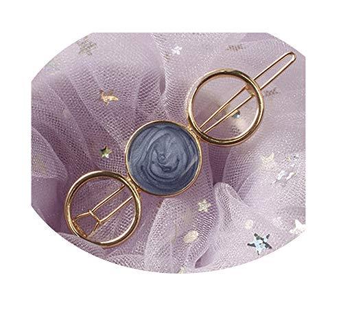 (DraFenn Women Acetate Round Star Alloy Hair Clip Headwear Hair Ornament Headband Hairpin Barrette Hair,China,E)
