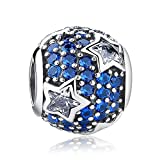 Everbling Follow the Stars with Clear and Blue CZ 925 Sterling Silver Bead Fits European Charm Bracelet
