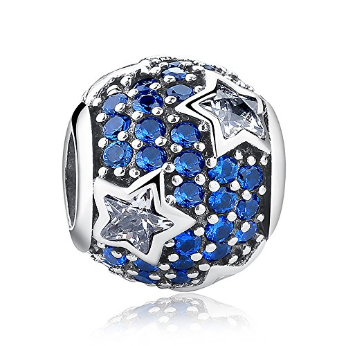 Everbling Follow the Stars with Clear and Blue CZ 925 Sterling Silver Bead Fits European Charm Bracelet by Everbling