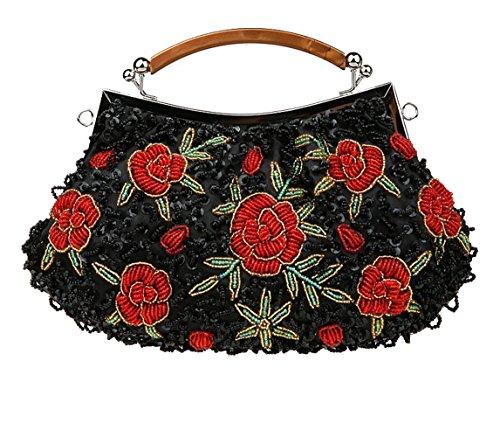 Ladies' Beaded & Sequined Vintage Roses Handbag Evening Party Purse Wedding Clutch Gift (Black ()