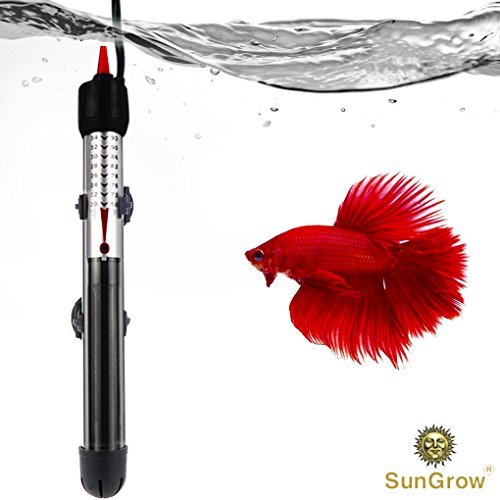 Submersible Aquarium Heater - Automatically Maintains Temperature - Adjustable temperature gauge for tropical fish - Explosion-proof Heating rod with Indicator Light by SunGrow