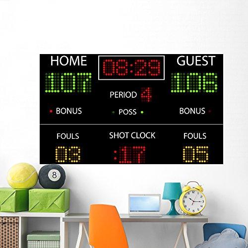 (Vector Basketball Scoreboard Wall Mural by Wallmonkeys Peel and Stick Graphic (72 in W x 48 in H) WM154224)
