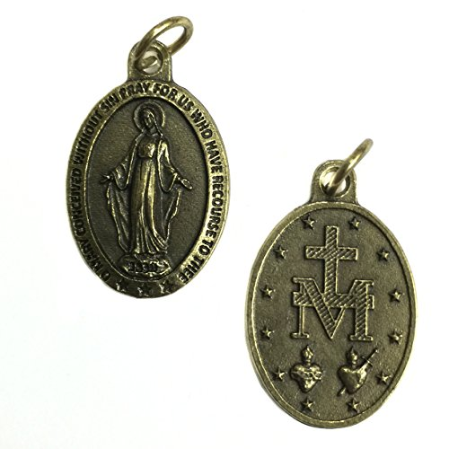 Mary Brass - Miraculous Blessed Virgin Mary Mother BrassTone Italian Medal Pendant Catholic Made in Italy 1