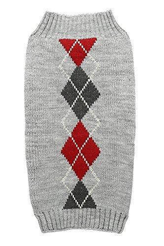 Grey Argyle Knit Pet Sweaters Clothes for Medium Dogs, Classic Gray X-Large (XL) Size (Gray Dog Knit Sweater)